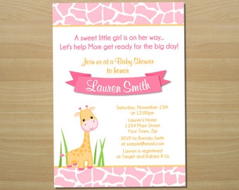 Pink Giraffe Girl Baby Shower Invitation - Digital File (Printing Services Available)