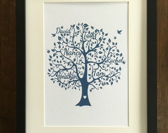 Personalised Family Tree Print Picture A4 Birthday Christmas Gift Wedding Unframed Present