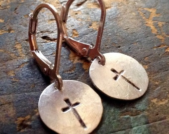 Crosses • Sterling Silver • SMALL Cross earrings | hammered silver discs • Christian jewelry • metalwork earrings • cross earrings • Jesus