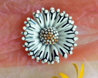 Corocraft Flower Brooch -White, Black & Brown Accents -Vintage - Fabulous!