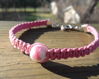 Pink Hemp Awareness Bracelet with lampwork center Ribbon bead and lobster clasp