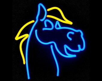 Harry the Horse Freestanding Real Neon Art Tabletop Equine Handmade Sculpture