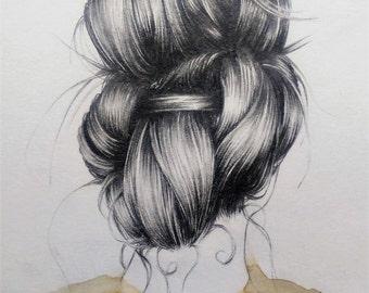 Made to Order - A5 original hair illustration