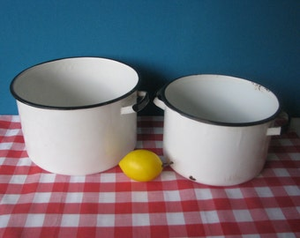 Enamel Pots - Set of 2 -  Chippy Enamelware - Heavy Duty - Mid Century-  Vintage 1960's
