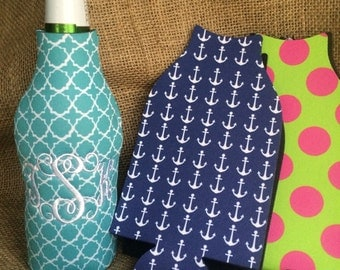 Nautical / Polka Dot / Quatrefoil Can or Bottle insulator-embroidered