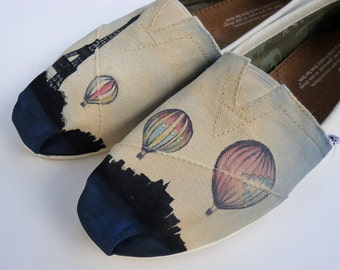 Tour of Paris Toms or Vans or Chucks. Hot Air Balloon around the Eiffel Tower. Hand painted Toms Shoes.