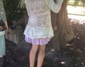 Woodland Upcycled Cardigan Sweater Whisper Soft Ivory Crochet Fantasy~ reserved for Lala~