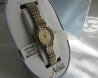 Vintage Womens Watch Armitron NOW Ladies Wrist Watch Silver and Gold Jeweled Watch Womens