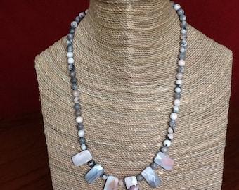 Pink zebra jasper necklace