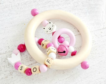 Personalized wooden teether, wood toy, pink cat, rattle teether, custom gift, beaded toy, baby toy, baby gift, personalized baby gift, cat