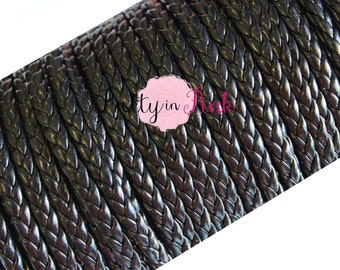 Black Braided Leather Cord 6mm DIY Jewelry- DIY headband- DIY Crafts- Cord- Leather Cord- Braided Cord- Metallic Black Cord