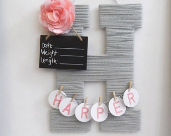 Hospital Door Hanging Baby Girl / Baby shower gifts / baby room decor / wood yarn letter / personalized birth announcement / baby girl names