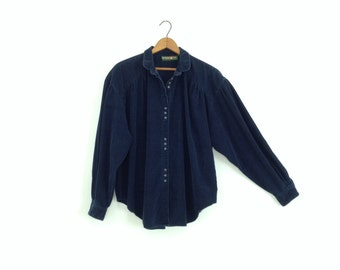 80s button up shirt womens 80s clothing peter pan collar oversized shirt grunge clothing royal blue navy