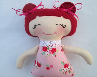 Soft Red Haired Doll, Ready to Ship, 11 inches, red head with pink rose outfit, baby's first doll, toddler gift, baby gift