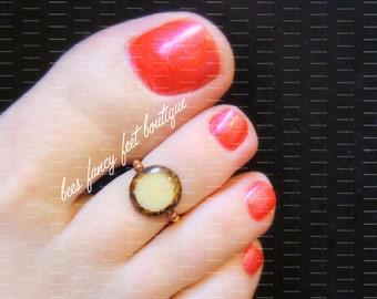 Toe Ring - Amber - Glass Lentil Stretch Bead Toe Ring