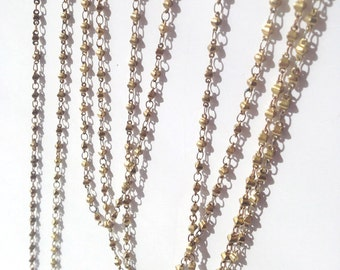 Vintage Bead Chain, Faceted Bead Chain, Rosary Chain, Tiny Bead Chain, 1.5 Ft