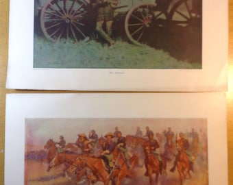Old West Prints by Remington/Collier Magazine, set of 2