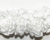 Frilly Rose Headband White Ivory Pink Red Flowers Newborn Baby Girls Hair Accessory Christening Baptism Wedding Party Blessing Color Choice