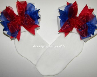 Girls Socks, Patriotic Socks, Red White Blue Bows, Baby Socks, Toddler Accessories, Little Miss USA Pageants, 4th of July Socks, Dance Socks