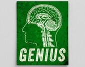 Genius Print Brain Science Gift Brain Print Brain Poster Vintage Anatomy Poster Sarcastic Poster Sarcasm Funny Posters for Him Gifts for Him