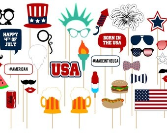 Printable 4th of July Photo Booth Props . 4th of July. Independence Day . America . USA . Party . Instant Download