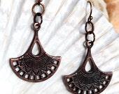 Mykonos Bronze Fan Earrings, Mykonos, Egyption, Bronze Metal, Mykonos Earring, Jewelry, Dangle, Drop
