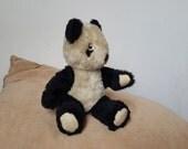"""Vintage German Teddy bear,  Panda mohair teddy bear from 1960s - 8"""" (20 cm)"""
