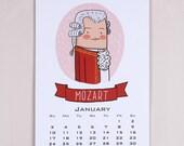 2016 Composers Wall Calendar by OiP (Mozart, Tchaikovsky, Vivaldi, Chopin, Beethoven,Strauss, Bach, Musicians, Takvim, Calendr