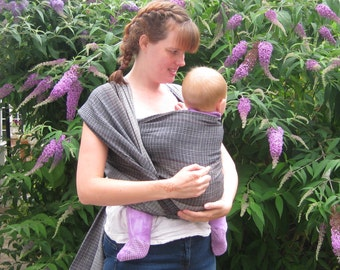 "Woven wrap sling - Nannie Cool ""Charcoal"" baby wrap"