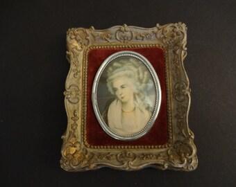 Vintage 1940's Cameo Creations Miniature Portrait - Mrs Chaplin - 18th Century Woman's Portrait - Paris Apartment - French Country Decor