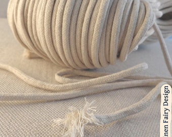 """5/10 meters Raw Cotton Cord 6 mm / 0,24"""" With Filling Natural Organic Cord for Crafts Jewellery Decorations"""