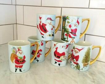 Santa Mugs, Hand Painted Mugs, Santa Claus Mugs, Christmas Mugs, Christmas Decor, Blue Gold Christmas