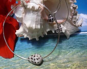 Maui Bangle and Hoop Earrings Set, Cone Shells, Island Fashion, Boho, Hawaiian Style