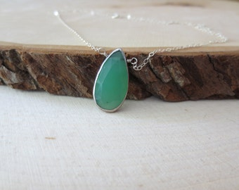Chalcedony pendant necklace, green chalcedony necklace, teardrop pendant necklace, chalcedony silver necklace