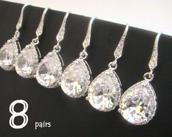 Set Of 8 15% Off Will You Be My Bridesmaid Gift Idea Bridesmaid Earrings, Cubic Zirconia Earrings, Wedding Jewelry, CZ Crystal Drop Earrings