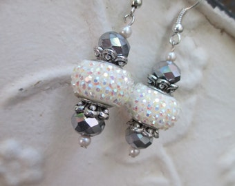 White Sparkle and Czech Glass Earrings