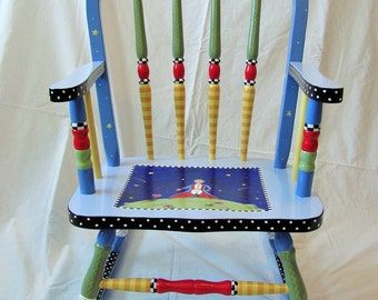Custom Hand Painted Rocking Chair, child's rocking chair, custom painted furniture, custom gifts for kids, rocking chair