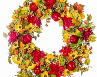 Mum, Berry, Poppy & Apple Wreath  (FW900)