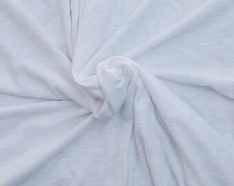 "White Cotton Modal Fabric Jersey Knit by the Yard Streaks / Slub 61"" W 3/16"