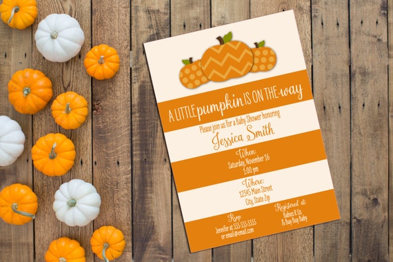 Little Pumpkin Baby Shower Invitation - Fall Baby Shower - Large Orange and Cream Stripes - Printable