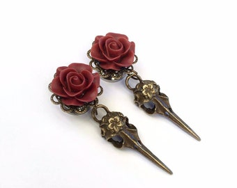 Maroon Rose Filigree Skull Ear Plugs