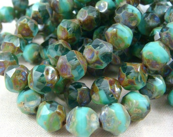Czech Beads, Czech Glass Beads - Two-Tone Turquoise & Emerald - (CEN/RJ-0867) - 8mm Central Cut - Qty 15