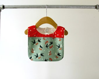 Baby/Toddler Bib, Organic Swallows/Red Wink Cotton with Organic Bamboo Terry