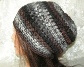 SLOUCHY BEANIE-Rasta-Tam-Hat-Crochet-Color: ASHES-variegated shades of black, brown and grey