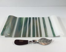 Fused Glass Cheese Plate with Spreader - Dining & Serving - Sushi Tray