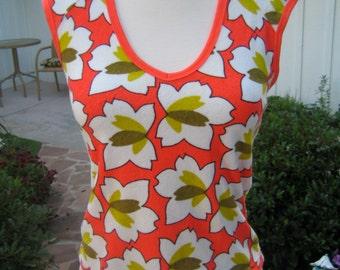 Vintage 1990's Florescent Orange Floral Terrycloth Key Hole Neckline Diesel Ladies top - small