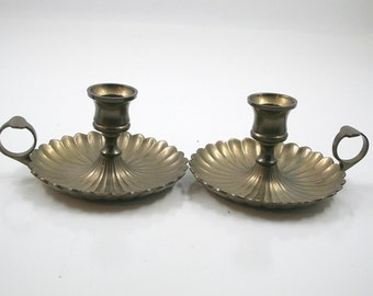 Brass Scalloped Candle Holders