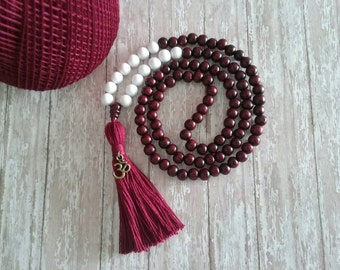 108 Mala Bead, Mala Necklace, Mala Bead, Wood Bead Mala,Bead Tassel Necklace, Wood Mala, Yoga Beads, Meditation Beads, Bohemian Necklace