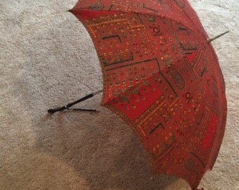 Lovely Vintage Red Print Umbrella and Matching Cigarette Case
