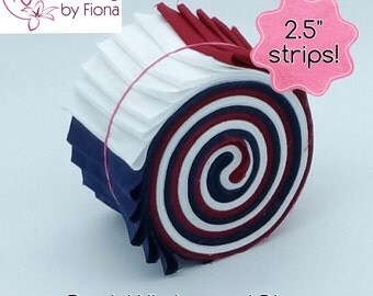 "18 x 2.5"" Red, White & Blue Jelly Roll PreCut Fabric Strips, 2.5 inch x WOF, Die Cut"